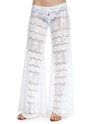 Wide-Leg Lace Coverup Pants by Letarte at Neiman Marcus.