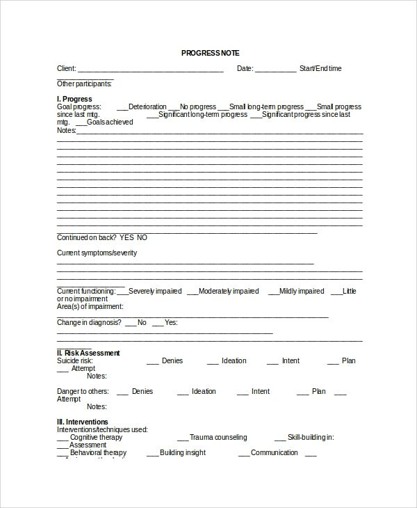 Sample Therapy Note Template 5 Free Documents Download Notes Template Treatment Plan Template Agenda Template