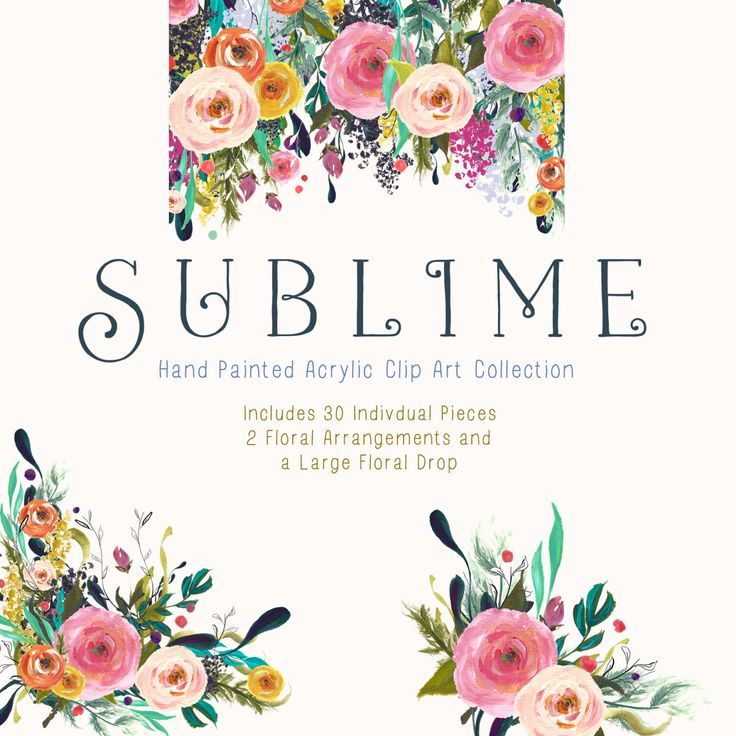 Hand Painted Flower Clip Art Collection - Sublime by CreateTheCut on Etsy https://www.etsy.com/listing/225746336/hand-painted-flower-clip-art-collection
