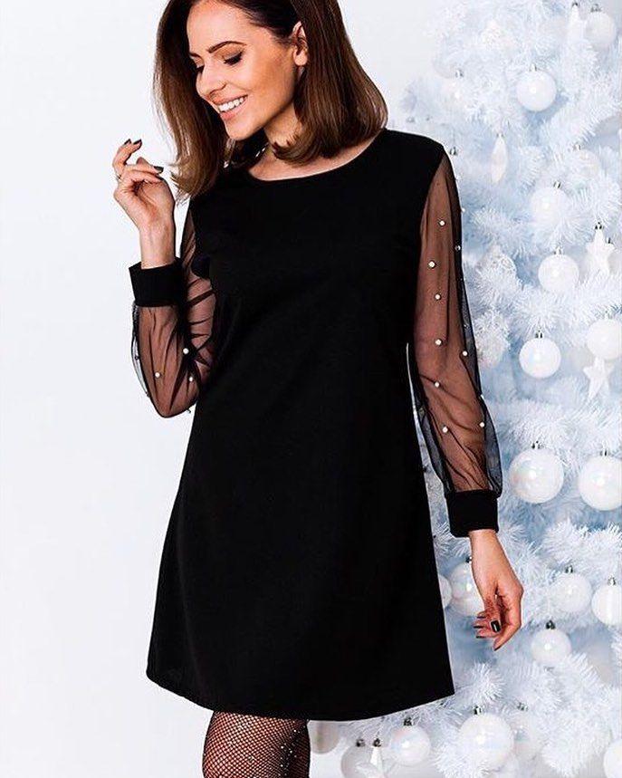 ea012167f8cb Čierne šaty s jemnými perlovymi rukávmi   veľ.UNI 2390 IHNEĎ K ODBERU   newcollection