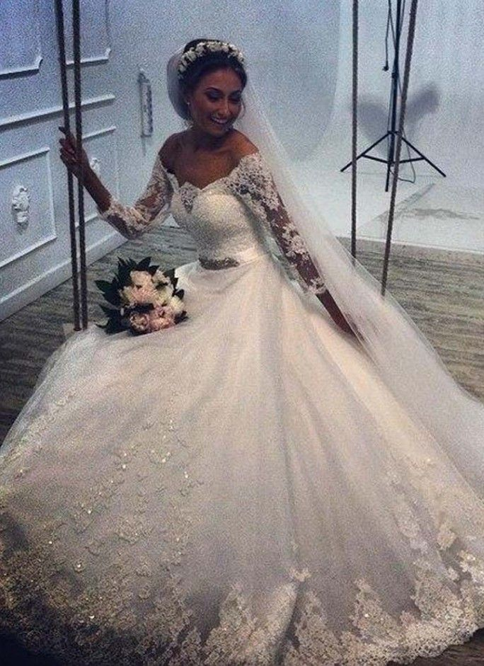 2016 Lace Wedding Dresses 3 4 Long Sleeves Off The