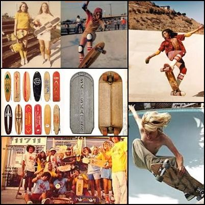 Decada 70 - Skater - Inventado 1963 en Malibu por M. Muñóz y P. Edwards tabla c/ ruedas, en 70's el under la música y el arte lo convierte en Tribu Urbana pantalones, Tshirt amplias y coloridas, gorra, zapatillas planas, Short de surfer medias hasta la rodilla/ Decada 70 - Skater - Invented in 1963 in Malibu by M. Munoz and P. Edwards table with wheels in the 70's under the music & art makes Urban Tribe trousers and spacious and colorful, cap, shirts, flat slippers, Short surfer, knee socks