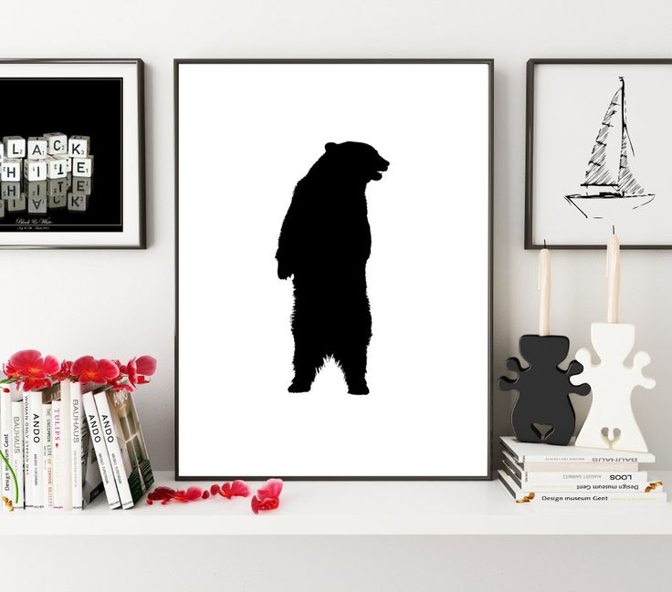 Black Bear Print, Bear Wall Art, Bear Wall Print, Black Wall Print, Bear Print, Bear Poster, Monochrome print, Wall Art Print