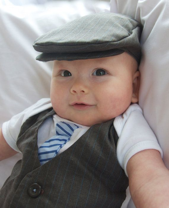 Baby+formal+wear++vest+and+tie+onesie++flat+cap+by+AmyMaiBubs,+$40.00