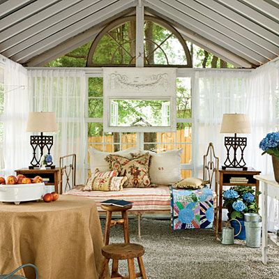 Daybed - Southern Living - Sitting Room - Romantic Conservatory : Outdoor Rooms, Indoor Outdoor, Sitting Rooms, Gardens Spaces, Backyard Oasis, Backyard Escape, Gardens House, Backyard Gardens, Sit Rooms