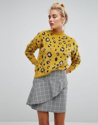 Willow And Paige – Hochgeschlossener flauschiger Oversize-Pullover mit Leopardenmuster