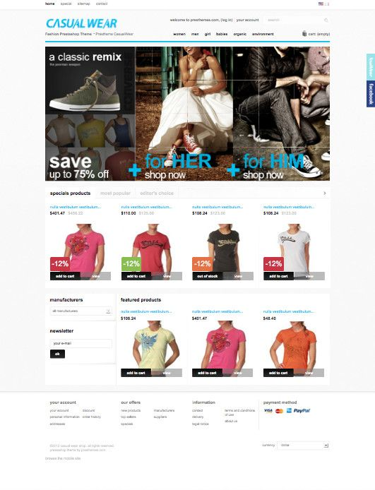 CasualWear PrestaShop Theme for Men/Women/Baby Online Clothing Store