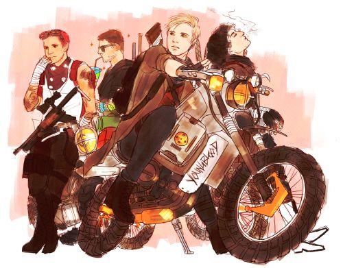 Fall Out Boy Apocalyspe By fracturesbones on Tumblr>>holy shitdicks Patrick on a motorbike omggg yassssssssss