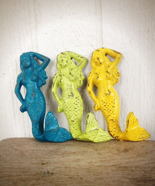 BOLD trio MERMAID towel hooks // teal lime green sunny yellow // wall hook // nautical beach bathroom bedroom decor // shabby CHIC by BOLDHOUSE, $35.00