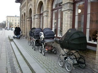denmark....i love the baby buggies the moms use in denmark. instead of bringing the buggies in shops with them, they just park them outside the shops and the babies stay safe and warm in the buggy.
