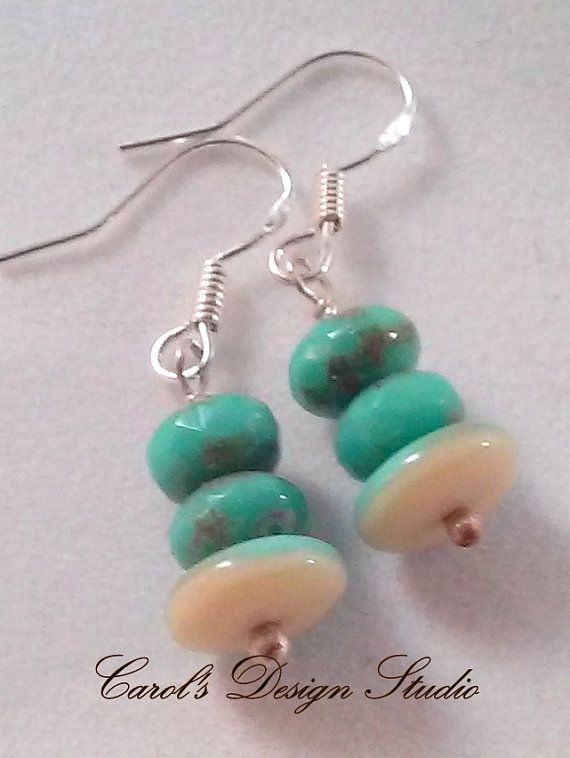 Czech glass beads, Blue and Pastel Beige and Turquoise beads dangle from sterling silver earwires