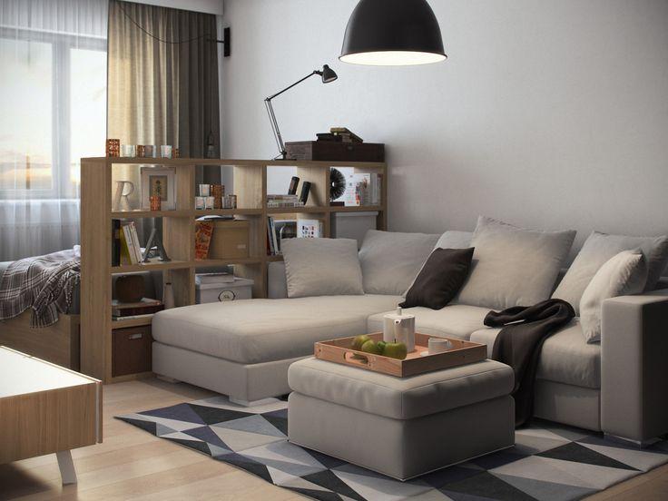 гостиная-спальня в дизайне однокомнатной квартиры площадью 36 кв. м.