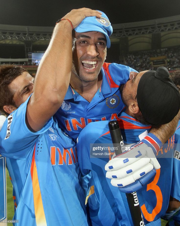 News Photo MS Dhoni of India celebrates victory with