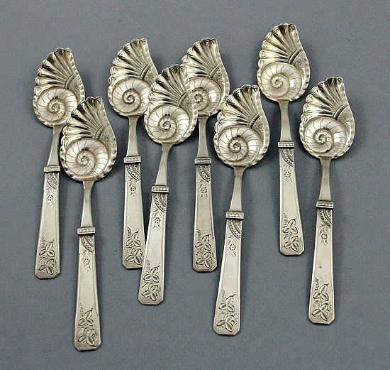 Duhme sterling silver conch shell ice cream spoons