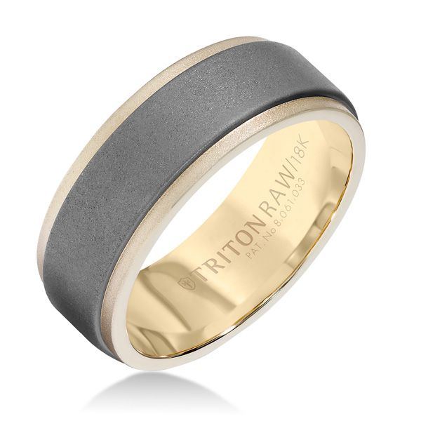 Raw Tunsten Carbide insert within a yellow 18k gold ring makes this distinctive wedding band an innovative classic.  From TritonRAW Collection