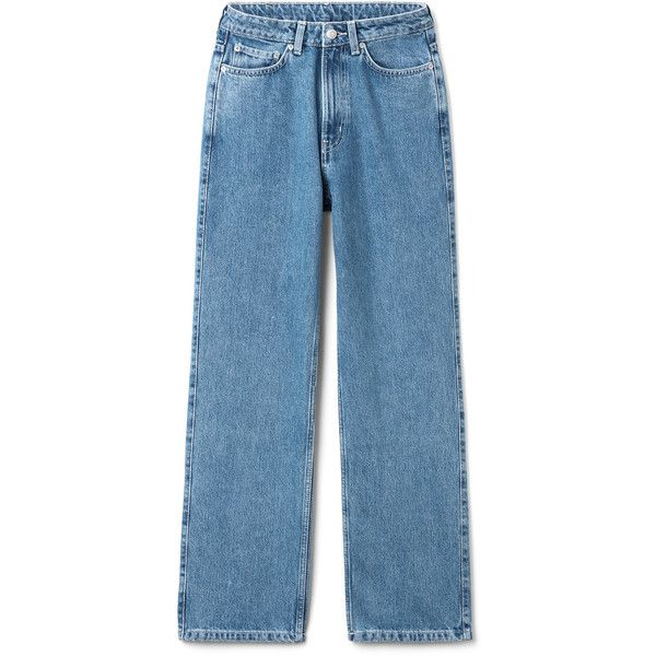 Row Sky Blue Jeans - Blue - Jeans - Weekday ($66) ❤ liked on Polyvore featuring jeans, loose fit jeans, stitch's jeans, straight leg jeans, blue jeans and loose jeans