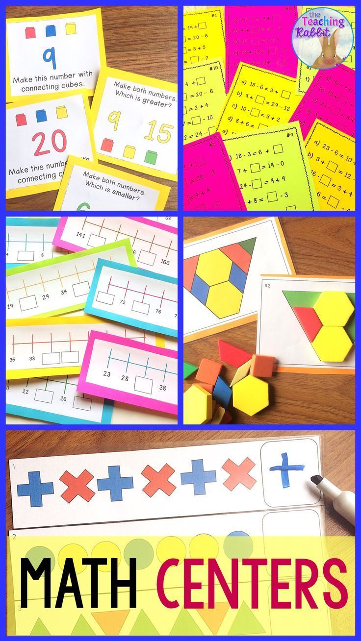 These primary math centers include: Pattern Block Puzzles, Counting on a Number Line, Equal Expressions, Connect the Cubes, Make a Number, Pattern Strips, Graphing Center, and Arrays. #mathcenters