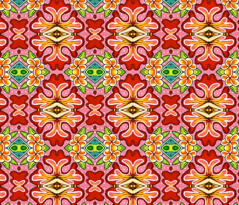 Tropical Punch fabric by quirkyhappyart on Spoonflower - custom fabric for your Quilting, Crafting and Sewing projects. This fabric is complimented by another called 'Strawberry Fields'.