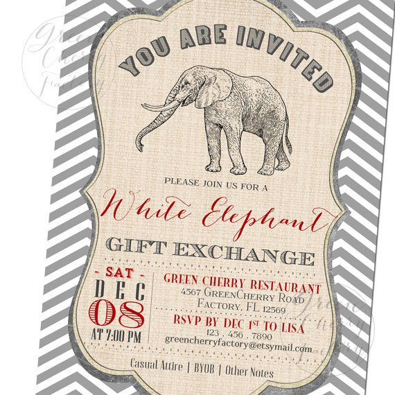 22 best white elephant gift exchange images on pinterest printable white elephant gift exchange by greencherryfactory negle Gallery