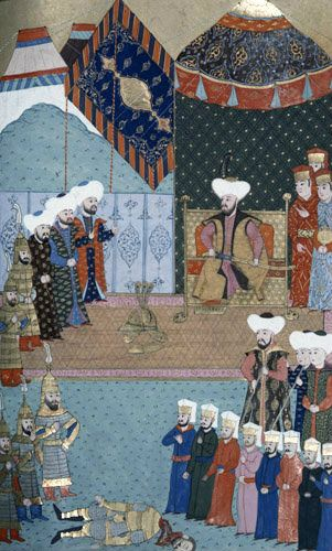 Soldiers of Murad II kill Miko, 16th century miniature from ms H.1523 p 143B, Book of Accomplishments, Topkapi Palace Museum, Istanbul, Turk...