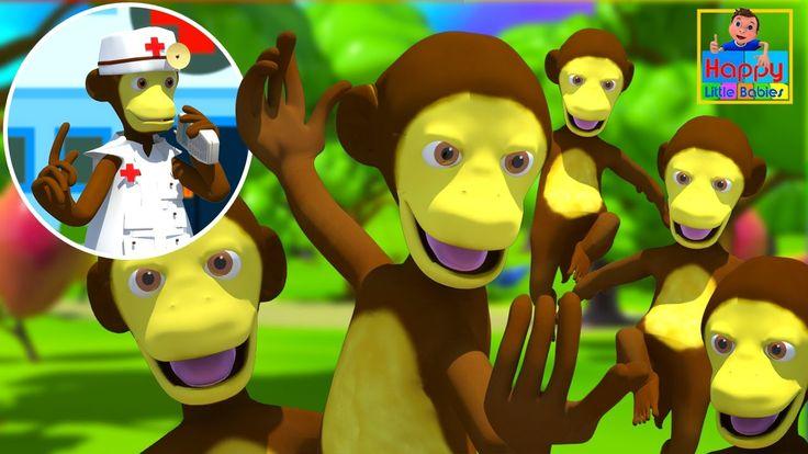 Five Little Monkeys Jumping On The Bed | Children Nursery Rhyme |  Happy...