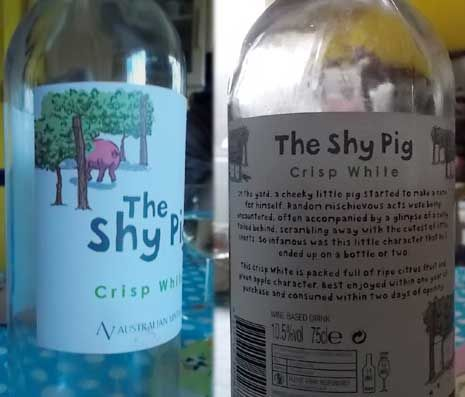 The Shy Pig bottle front and back