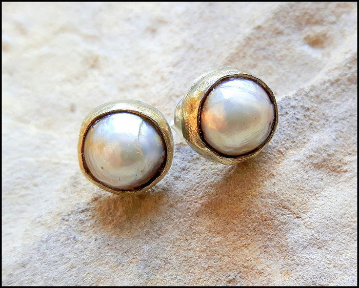 Bohemian Pearls, stud earrings,  hippie, boho chic, romantic, feminine, gift for her, glossy, golden pearls, rustic, patinated brass by KatalinaArt on Etsy