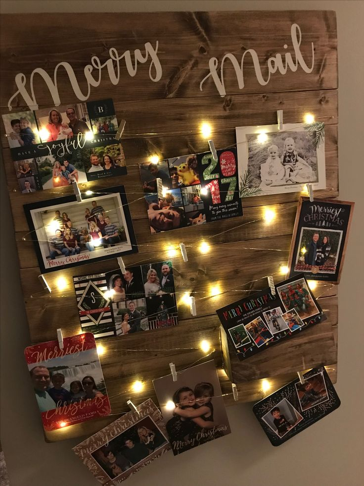 Merry Mail.  Christmas card display.