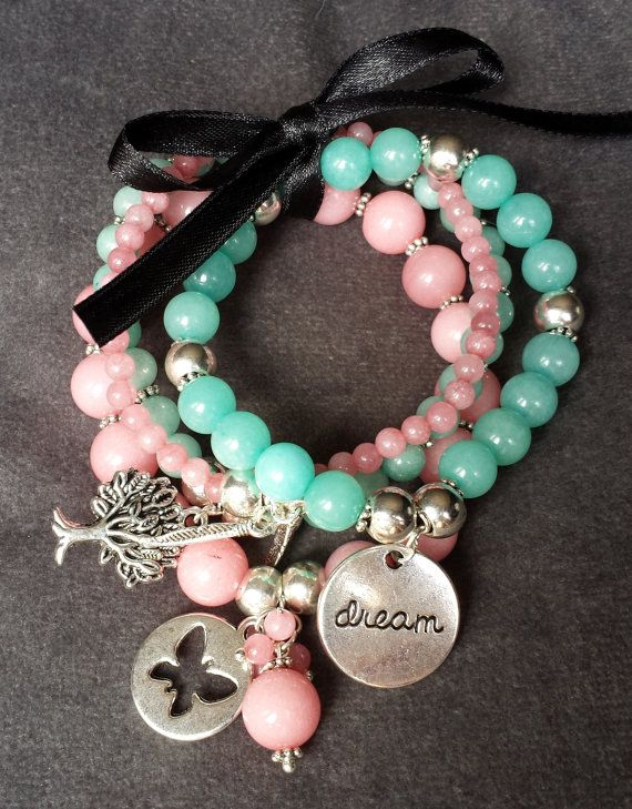 Amazonite and Pink Jade charm bracelet with by BeanCreationsbyGill, $25.00