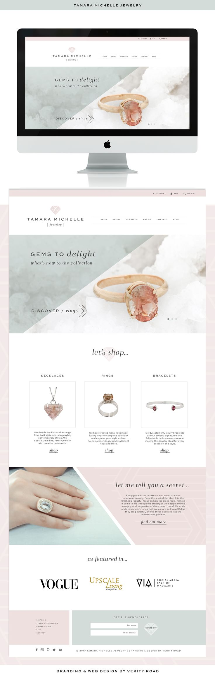 Custom web design, website design for jewelry designer. Jewelry design branding, feminine web design, web design inspiration, feminine website inspiration, custom feminine website for Tamara Michelle Jewelry. Luxury feminine branding and custom Wordpress website. Custom e-commerce. Pastel color palette. E-commerce inspiration. Gemstone jewelry, brand photography, brand photoshoot, female entrepreneur, business owner, logo design, logo inspiration, jewellery designer.