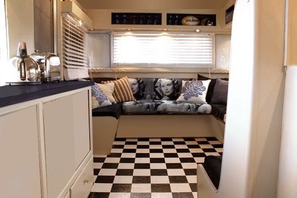 Interiors caravan interiors and black and white on pinterest for Caravan kitchen storage ideas