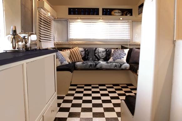 Checkered linoleum caravan inspiration pinterest for Checkered lino flooring
