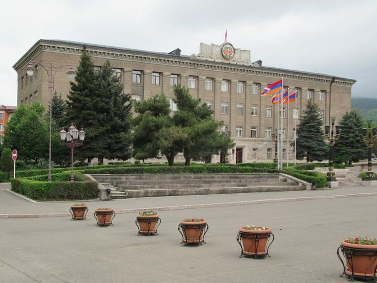 The NKR Presidential Palace is in a Soviet-era building on Renaissance Square, Stepanakert, Republ;ic of Nagorno Karabakh.