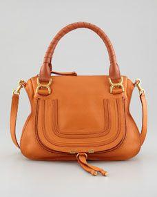 Marcie Medium Satchel Bag, Orange