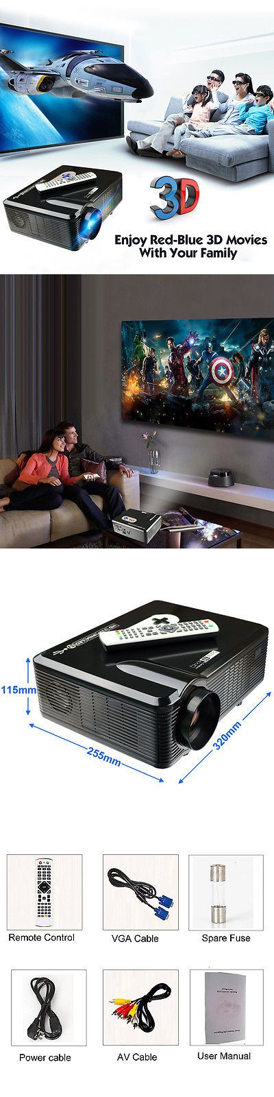 Home Theater Projectors: 3000 Lumens Hd Home Theater Multimedia Led Video Projector 1080P 3D Hdmi Tv Vga -> BUY IT NOW ONLY: $149.99 on eBay!