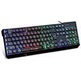 MOTOSPEED 104 Gaming Esport Tastatur USB Draht LED Hintergrundbeleuchtung Bunt Beleuchtet PC Laptop Notebook Desktop