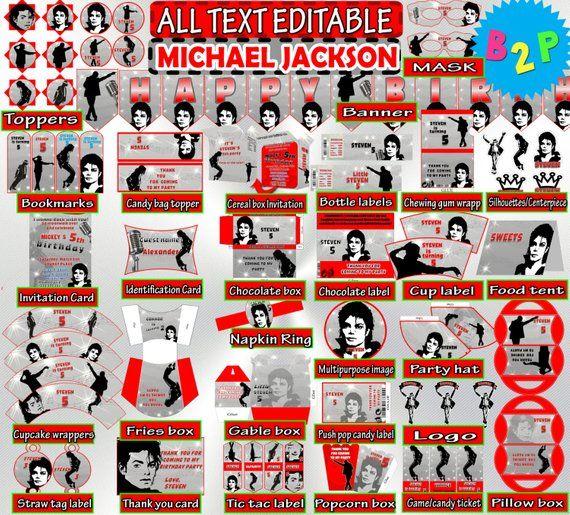 Editable Birthday Package Michael Jackson Decorations Printable Hat Bottle Labels Invitation Wra