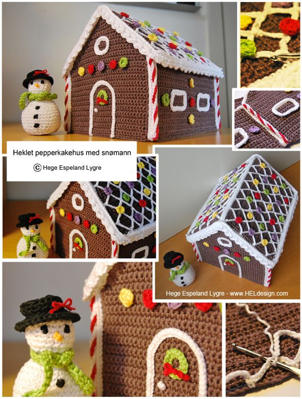 Pattern - Crochet Gingerbread House Crochet By Hege - www.HELdesign.com