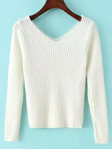 Shop White V Neck Slim Crop Knitwear online. SheIn offers White V Neck Slim Crop Knitwear & more to fit your fashionable needs.
