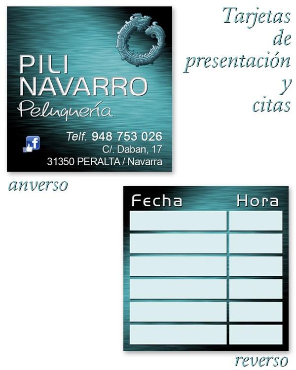 Tarjetas de visita y citas de Peluquería Pili Navarro