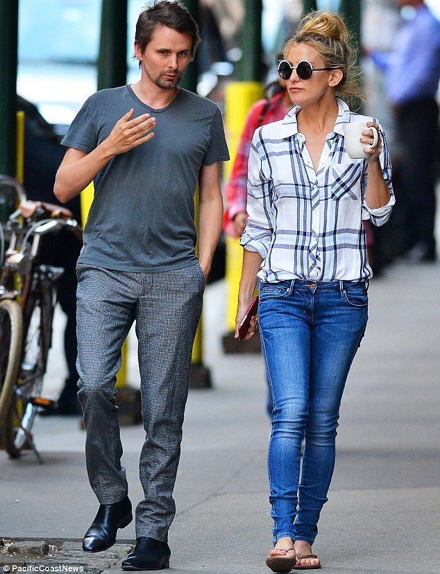 Friendly exes: Kate Hudson and Matt Bellamy were spotted enjoying a leisurely stroll in th...