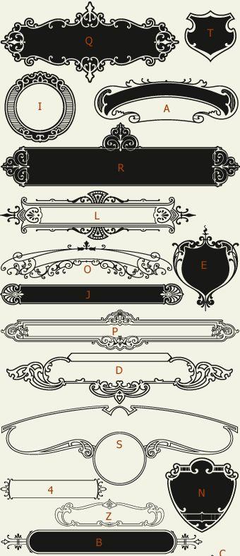 Letterhead Fonts / LHF Centennial Panels 1 / Decorative Panels NOT FREE