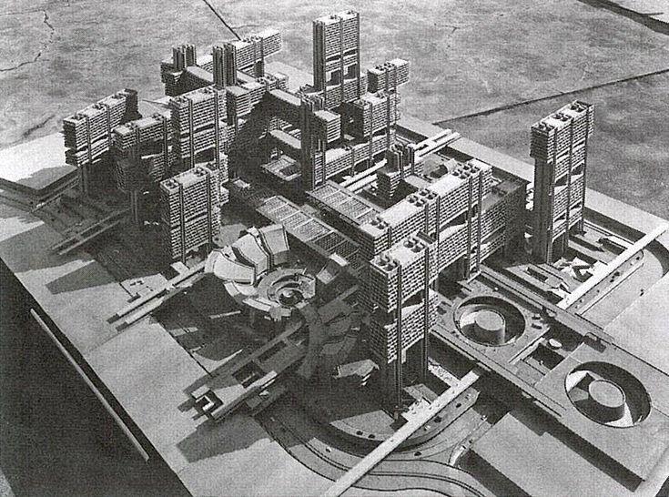 Renewal of Tsukiji District (1966) Tokyo, Japan. Kenzo Tange.
