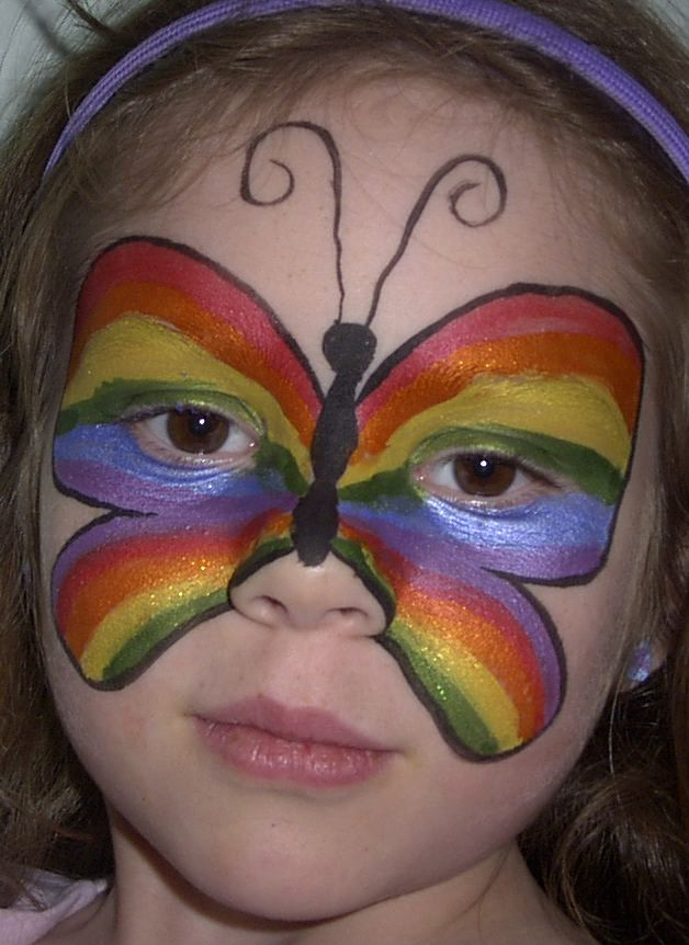 Rainbow Butterfly | Face Painting Designs -- Rainbow Butterfly awh...cute. kids r cute.