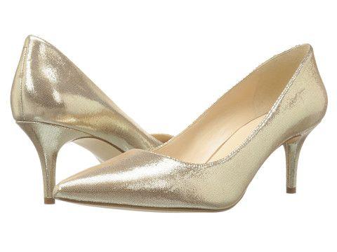 Pantofi dama cu toc mic aurii eleganti