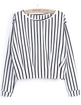 White Black Vertical Stripe Crop T-Shirt