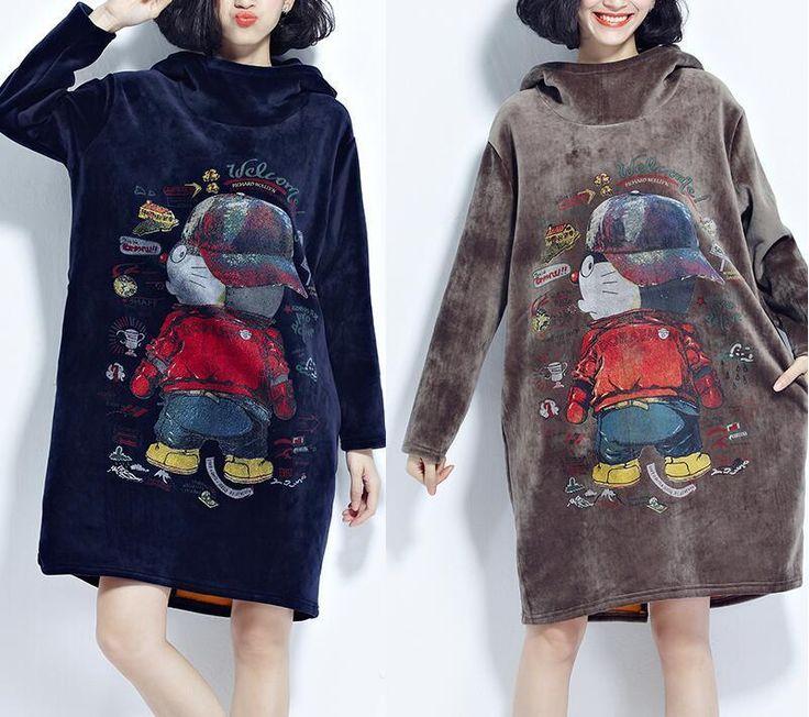 Women Pleuche Winter Hooded Dress Casual Animal Print Hoodies Sweatshirt T-Shirt