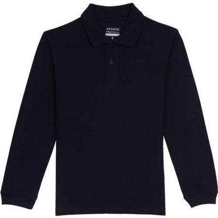 George Boys School Uniforms Long Sleeve Pique Polo Shirt, Size: XL (14/16), Blue
