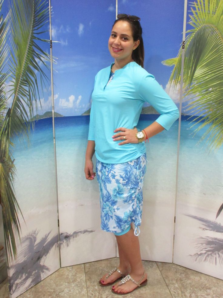 style 2630 in Aqua floral. Stunning four piece swim set All prints are manufactured exclusively for Aqua Modesta swimwear in the USA