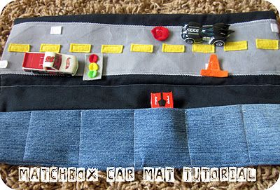 Hotwheels/Matchbox car take-along play mat.  My little boy always tries to carry as many toy cars as he can when we go out the door.  This will be a great way to make it easy for him to take several cars and also have a little play area for them to keep him busy when we are on the go.  Time to dig out the sewing machine ;)
